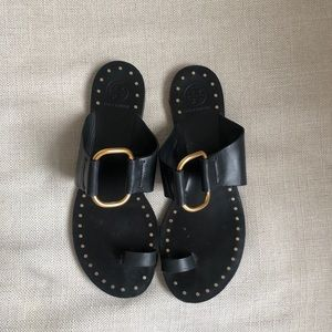 Tory Burch Black & Gold Leather Sandal